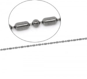 10 meter ANTRACIETkleurige BALLCHAIN jasseron ketting 1,5mm